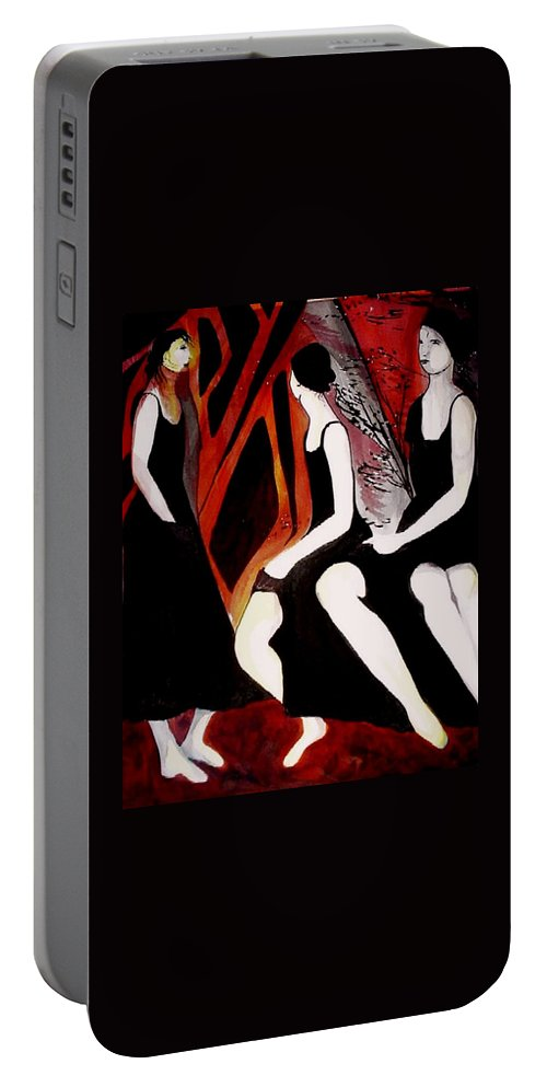 Women Portable Battery Charger featuring the painting Quiet Desperation by Carolyn LeGrand