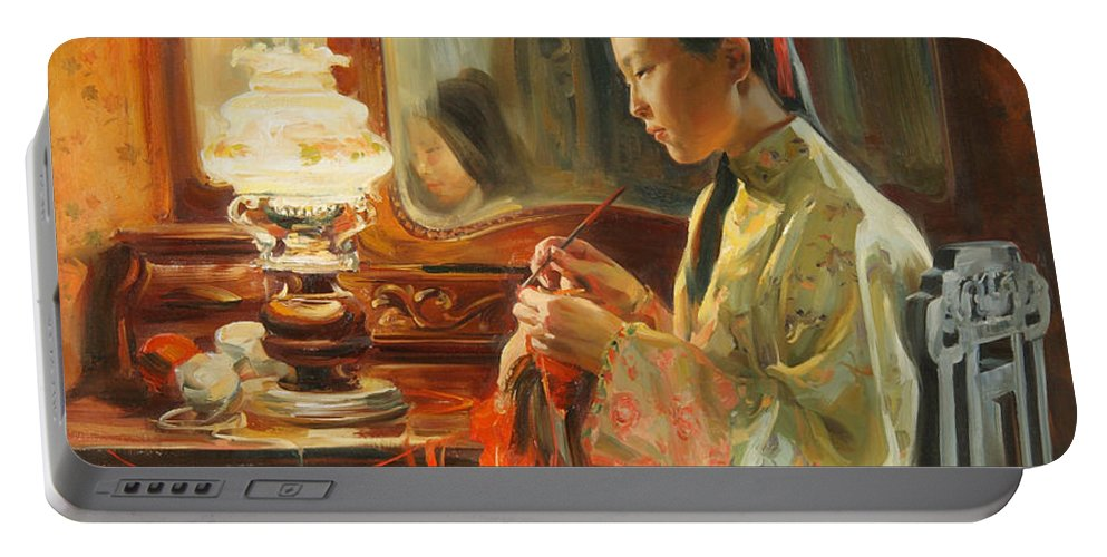 China Portable Battery Charger featuring the painting Quiet evening by Victoria Kharchenko