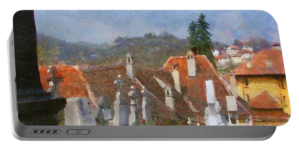 Architecture Portable Battery Charger featuring the painting Quiet Neighbors by Jeffrey Kolker