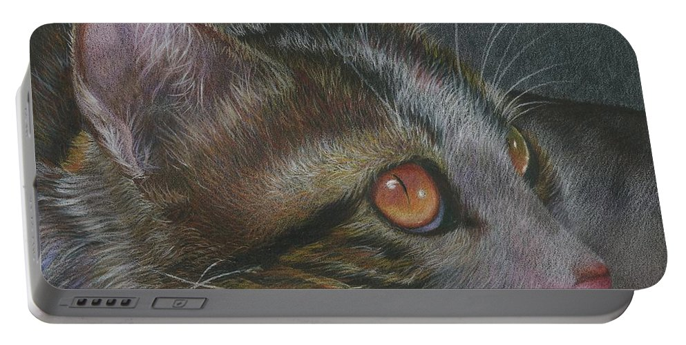 Cat Portable Battery Charger featuring the drawing Quiet Observation by Charne Gooch