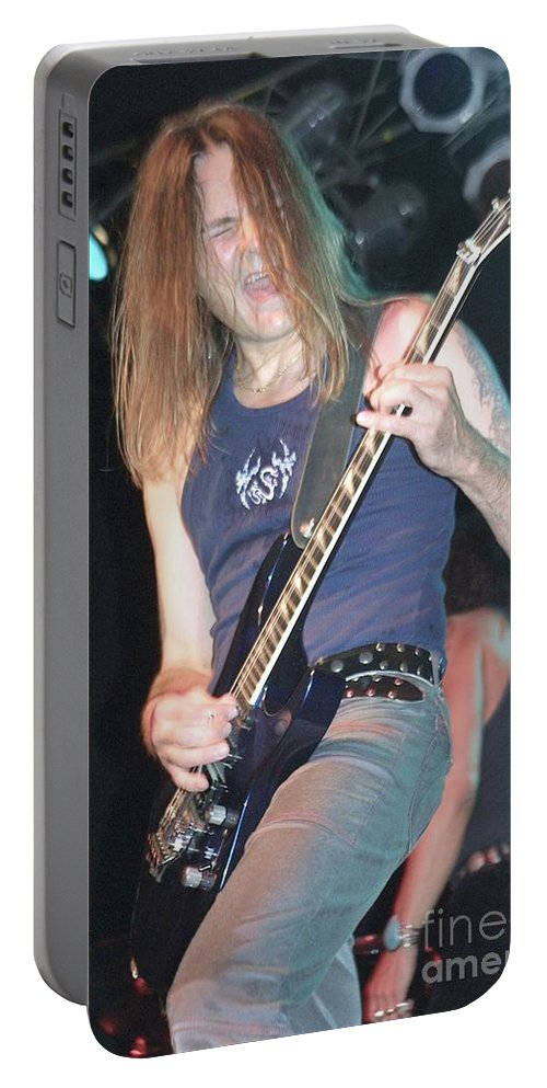 Carlos Cavazo Portable Battery Charger featuring the photograph Quiet Riot - Carlos Cavazo by Concert Photos