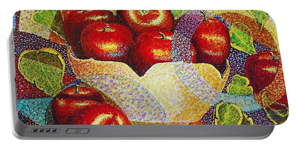 Jaxine Cummins Portable Battery Charger featuring the painting quilted Apples by JAXINE Cummins