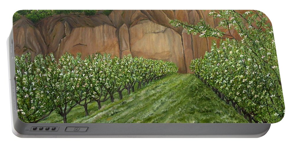 Quince Portable Battery Charger featuring the painting Quince Trees by Angeles M Pomata