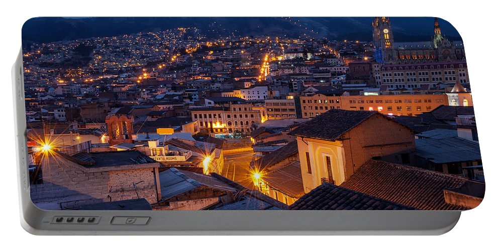 Cathedral Portable Battery Charger featuring the photograph Quito Old Town At Night by Jess Kraft