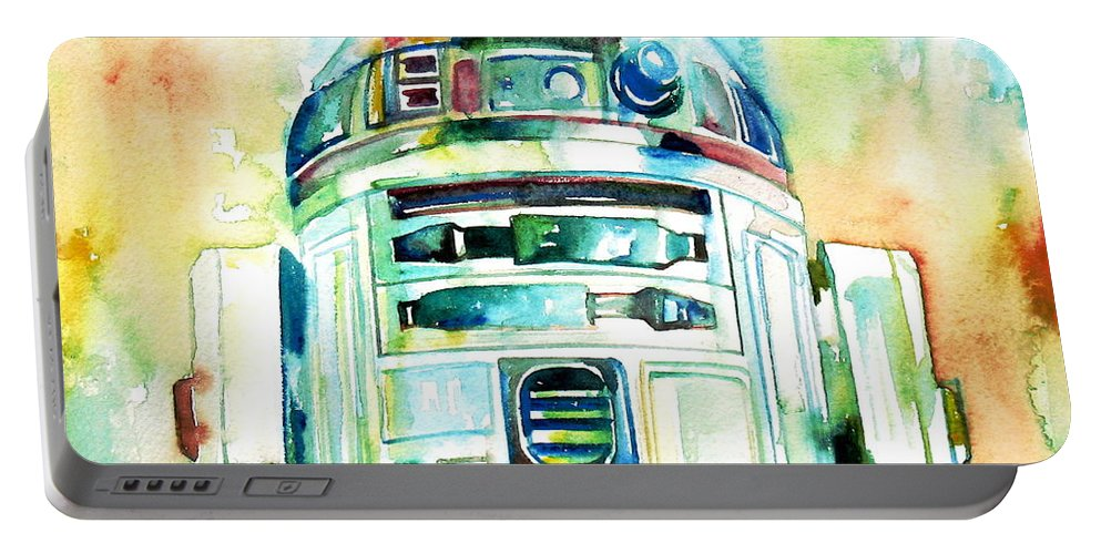 R2-d2 Portable Battery Charger featuring the painting R2-d2 Watercolor Portrait by Fabrizio Cassetta