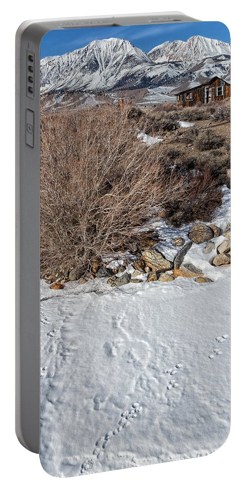 Mono Lake Portable Battery Charger featuring the photograph Rabbit Tracks by Kathleen Bishop