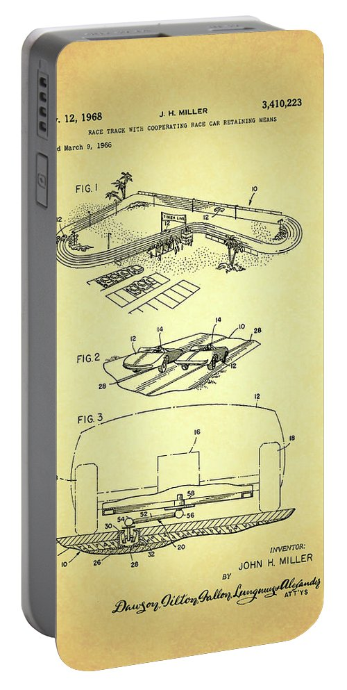 Patent Portable Battery Charger featuring the drawing Race Car Track With Race Car Retaining Means Patent 1968 by Mountain Dreams