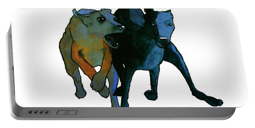 Dogs Portable Battery Charger featuring the painting Race by Richard Williamson