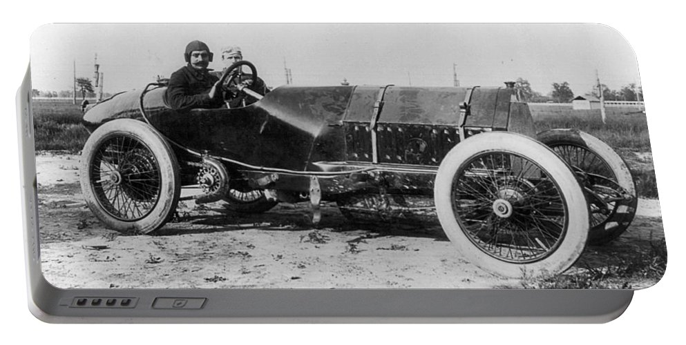 1913 Portable Battery Charger featuring the photograph Racecar Drivers, C1913 by Granger