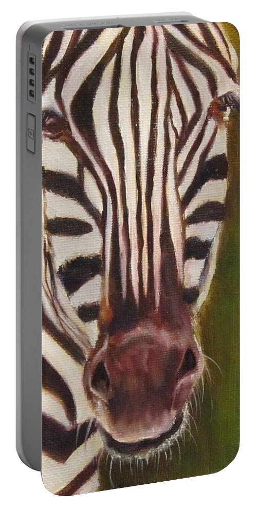 Zebra Portable Battery Charger featuring the painting Racer, Zebra by Sandra Reeves