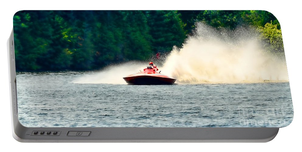 Boat Portable Battery Charger featuring the photograph Racing Speed Boat by Les Palenik