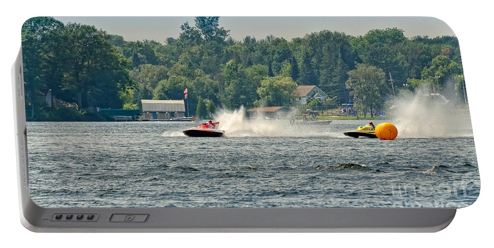 Race Portable Battery Charger featuring the photograph Racing Speedboats by Les Palenik