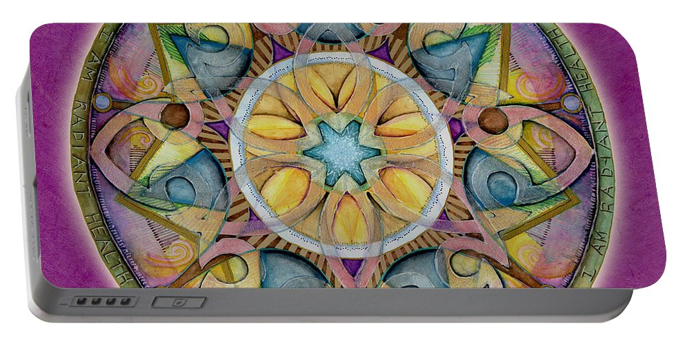 Mandala Art Portable Battery Charger featuring the painting Radiant Health Mandala by Jo Thomas Blaine