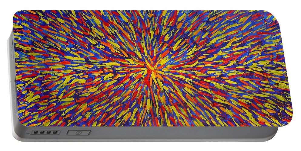 Abstract Portable Battery Charger featuring the painting Radiation Blue by Dean Triolo