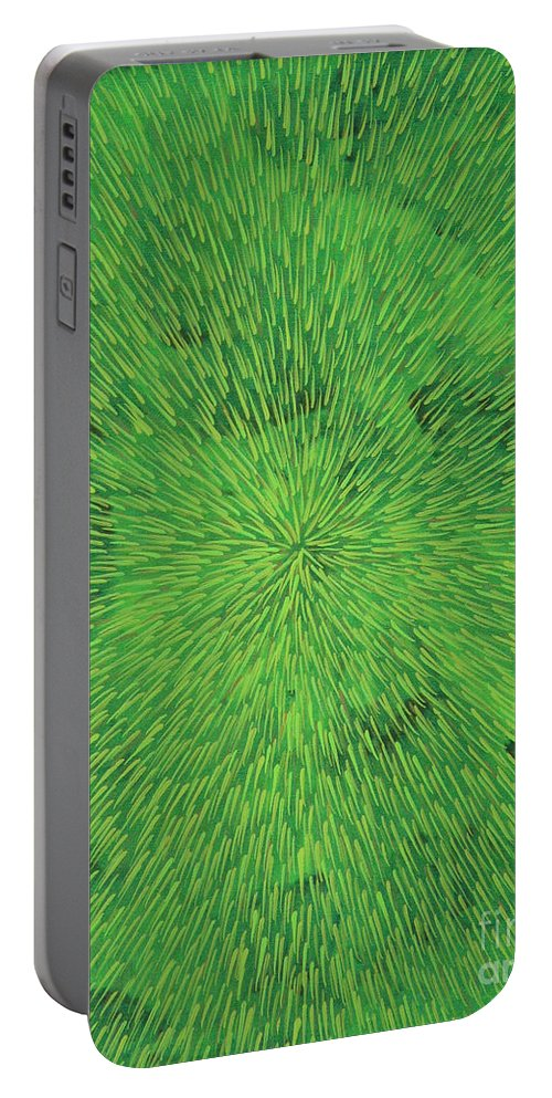 Abstract Portable Battery Charger featuring the painting Radiation Green by Dean Triolo