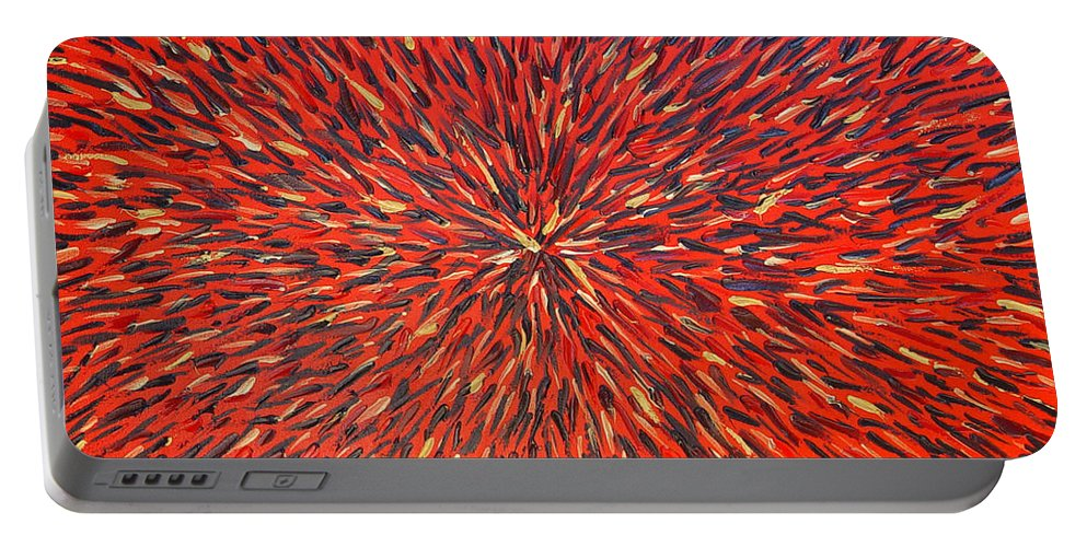Abstract Portable Battery Charger featuring the painting Radiation Red by Dean Triolo