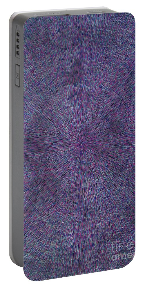 Abstract Portable Battery Charger featuring the painting Radiation Violet by Dean Triolo