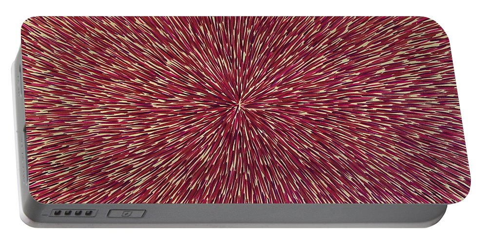 Abstract Portable Battery Charger featuring the painting Radiation With Brown Magenta And Violet by Dean Triolo