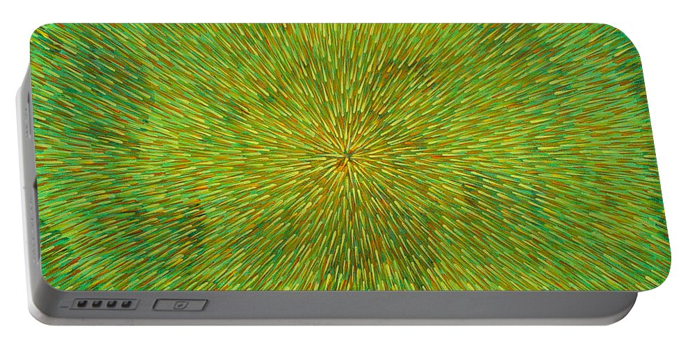Abstract Portable Battery Charger featuring the painting Radiation With Green Yellow And Orange by Dean Triolo