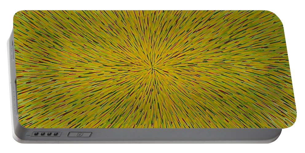 Abstract Portable Battery Charger featuring the painting Radiation With Yellow Green And Red by Dean Triolo