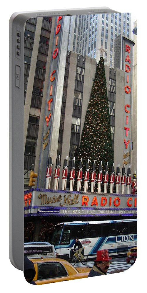 Holidays Portable Battery Charger featuring the photograph Radio City Music Hall 2003 by John Schneider