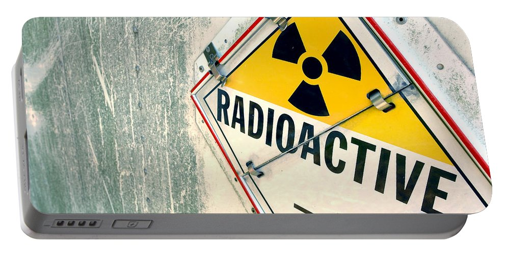 Radioactive Portable Battery Charger featuring the photograph Radioactive Warning Sign by Olivier Le Queinec