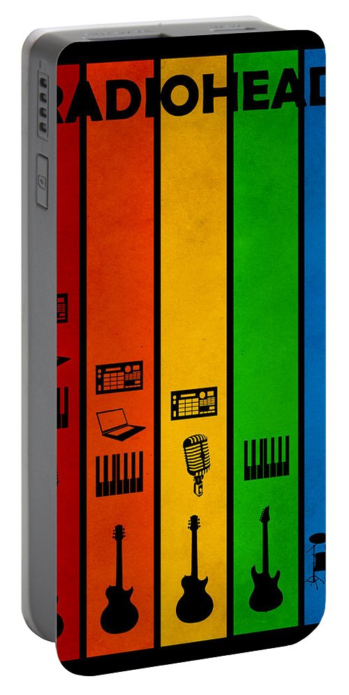 Radiohead Portable Battery Charger featuring the digital art Radiohead by FHT Designs
