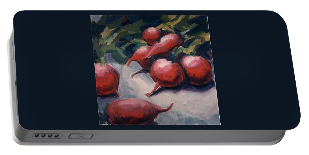 Radishes Portable Battery Charger featuring the painting Radishes by Konnie Kim