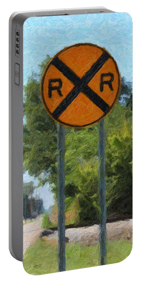 Railroad Sign Portable Battery Charger featuring the digital art Railroad Crossing Sign by Gravityx9 Designs