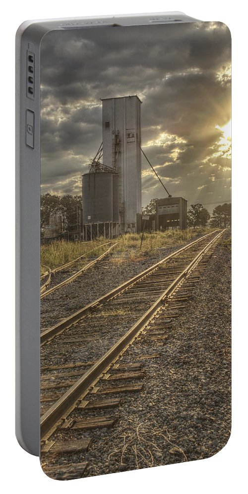 Railroad Portable Battery Charger featuring the photograph Railroad Sunrise by Jason Politte