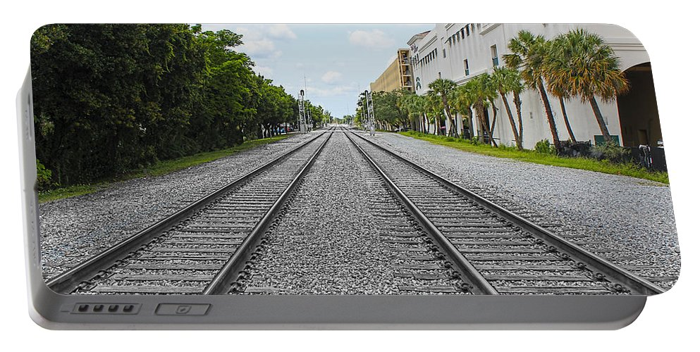 Railroad Tracks Portable Battery Charger featuring the photograph Railroad Tracks by Carlos Diaz