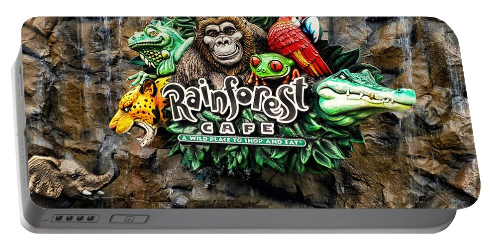 Rain Forest Cafe Portable Battery Charger featuring the photograph Rain Forest Cafe Signage Walt Disney World by Thomas Woolworth