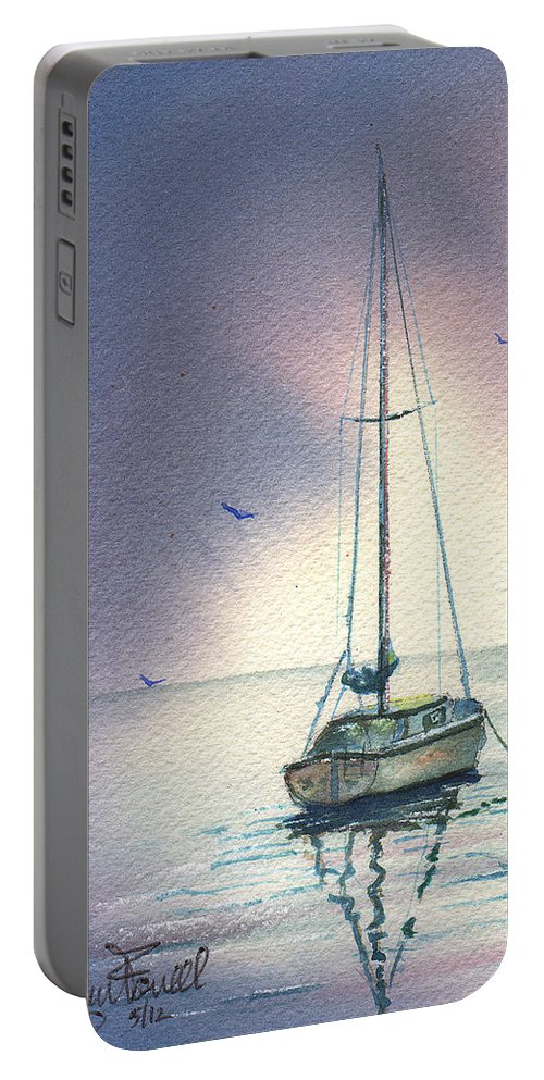 Sailboat Portable Battery Charger featuring the painting Rain Is Here by Glenn Farrell