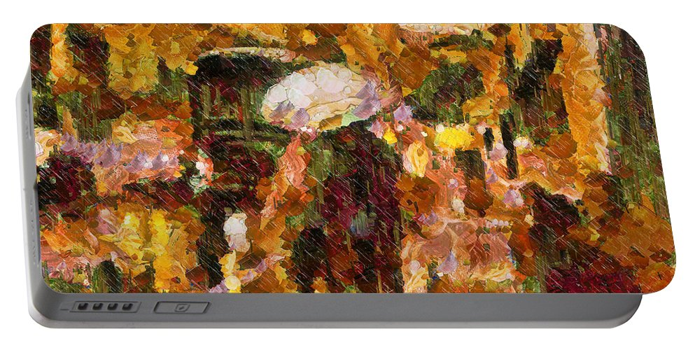 Abstract Portable Battery Charger featuring the painting Rain Walk At Night Abstract by Georgiana Romanovna