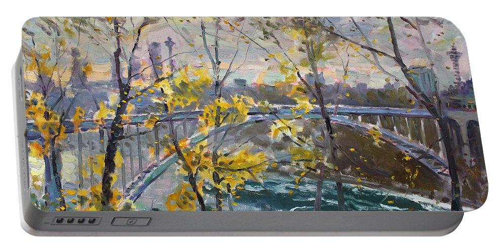 Rainbow Bridge Portable Battery Charger featuring the painting Rainbow Bridge by Ylli Haruni