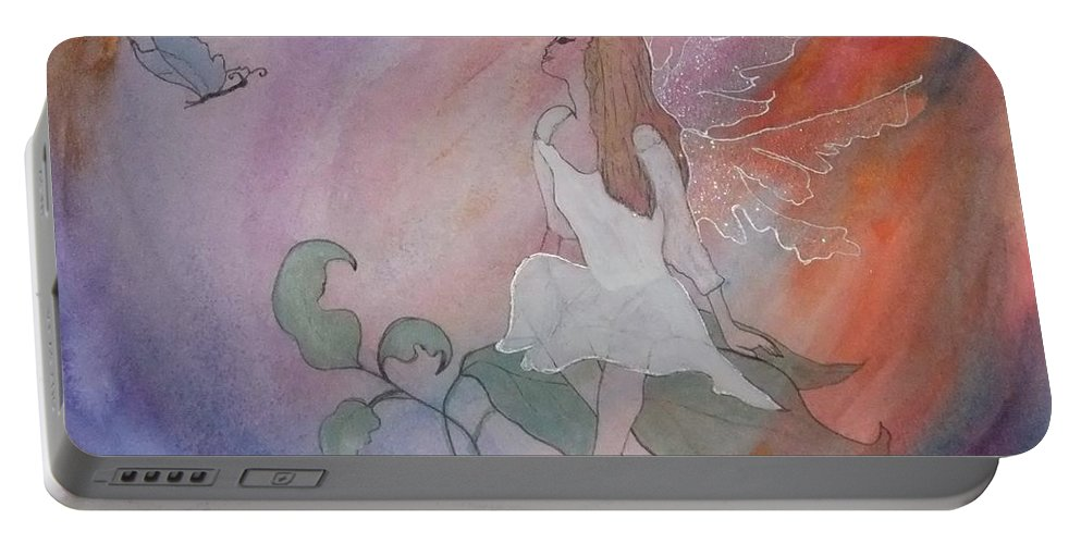 Watercolour Portable Battery Charger featuring the painting Rainbow Butterfly Fairy by Lynne McQueen