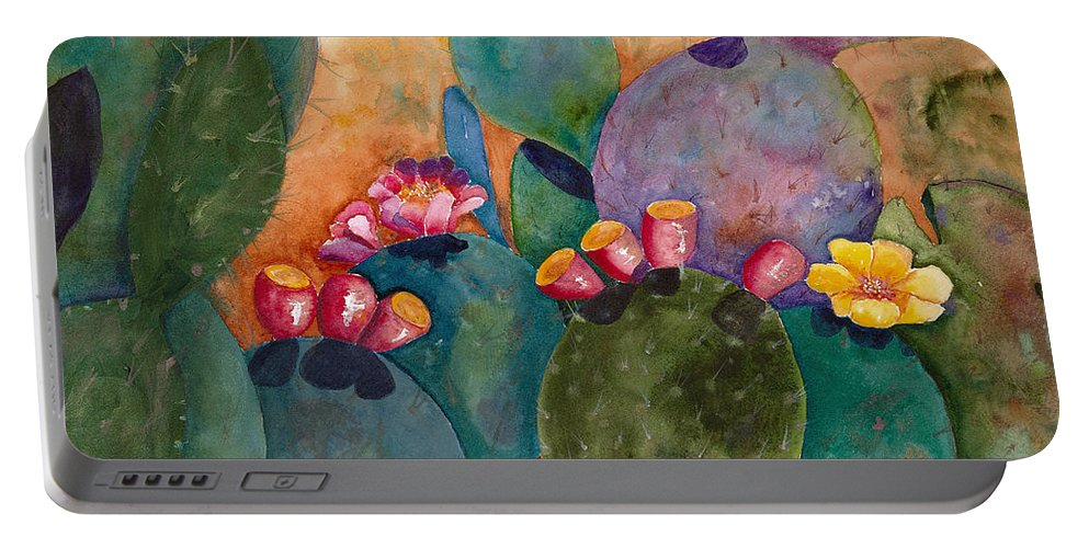 Cactus Portable Battery Charger featuring the painting Rainbow Cactus by Renee Chastant