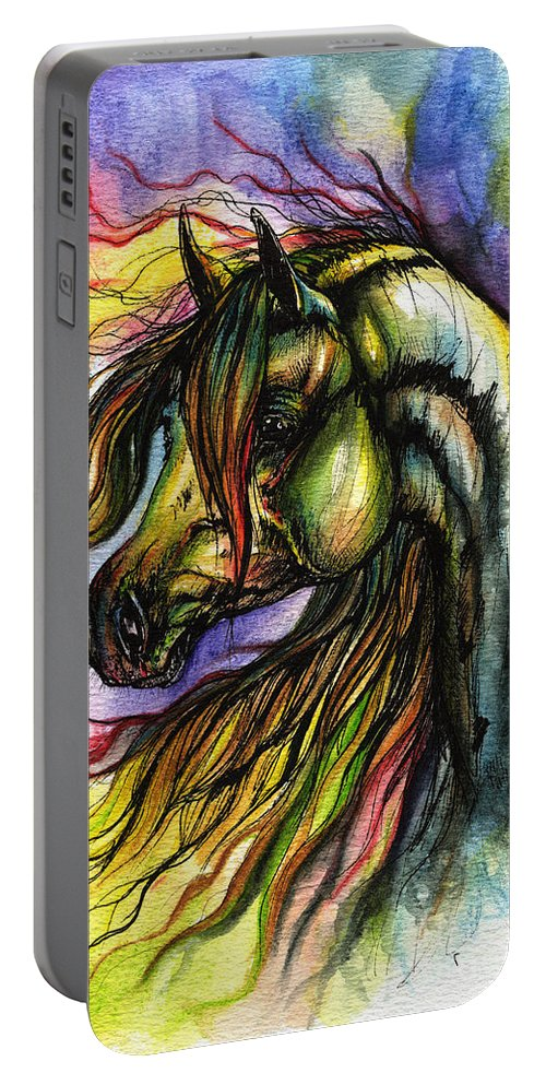 Horse Portable Battery Charger featuring the painting Rainbow Horse 2 by Angel Ciesniarska