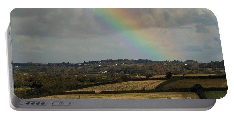 Rainbow Portable Battery Charger featuring the photograph Rainbow Over Fields by Brian Roscorla