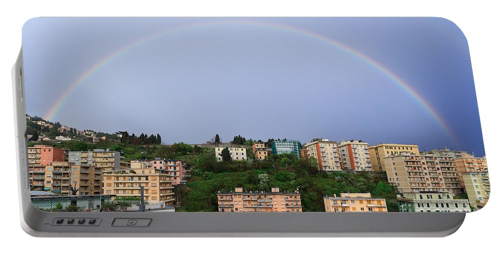 Arc Portable Battery Charger featuring the photograph rainbow over Genova by Antonio Scarpi