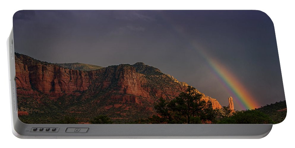 Sedona Portable Battery Charger featuring the photograph Rainbow Over Sedona by Saija Lehtonen