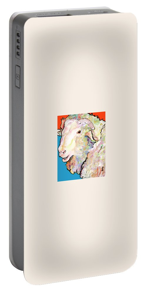 Pat Saunders-white Portable Battery Charger featuring the painting Rainbow Ram by Pat Saunders-White