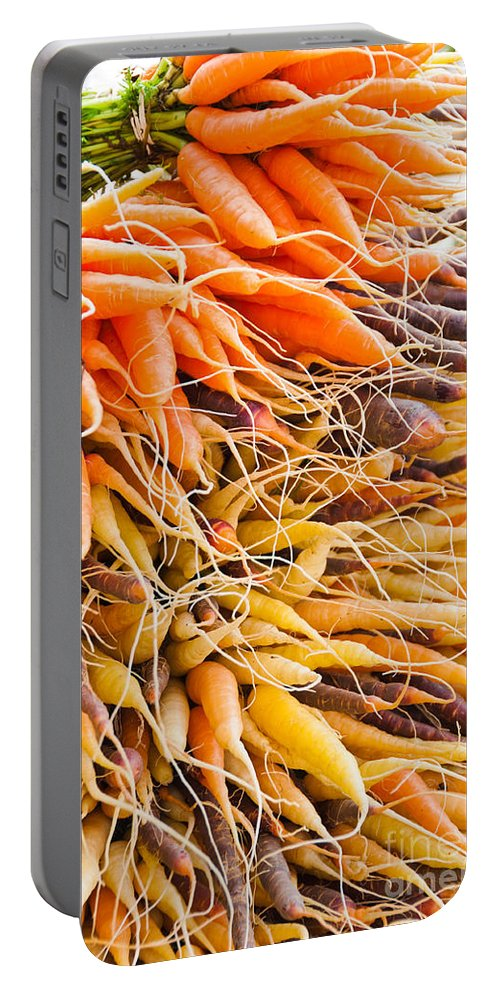 Carrots Portable Battery Charger featuring the photograph Rainbow Roots by Cheryl Baxter