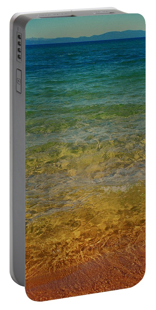 Lake Tahoe Portable Battery Charger featuring the photograph Rainbow Tahoe by Dayne Reast