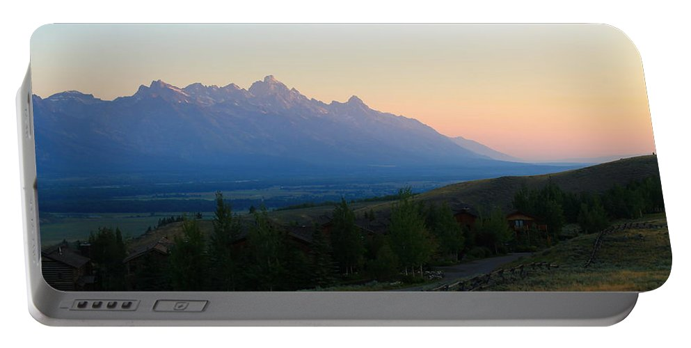 Jackson Hole Portable Battery Charger featuring the photograph Rainbow Tetons by Catie Canetti