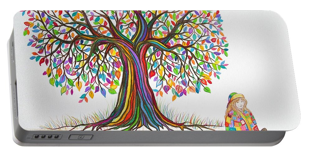 Tree Art Portable Battery Charger featuring the drawing Rainbow Tree Dreams by Nick Gustafson