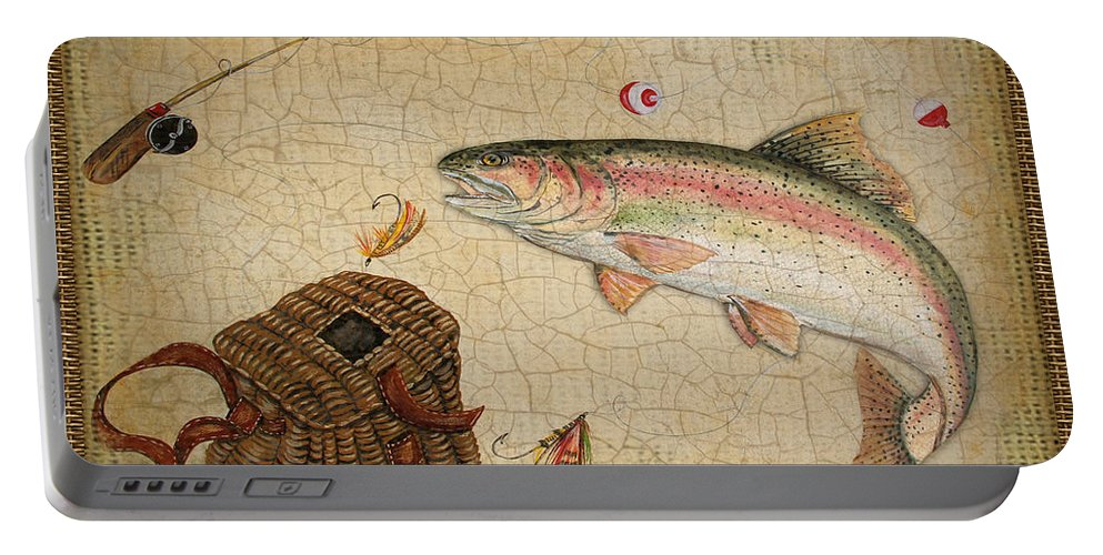 Acrylic Painting Portable Battery Charger featuring the painting Rainbow Trout-basket Weave by Jean Plout