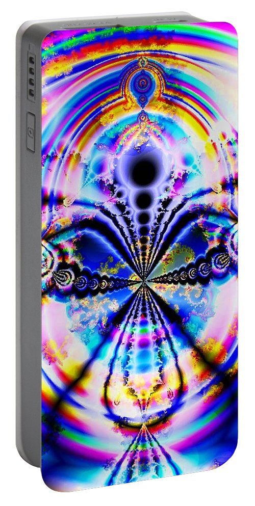Abstract Portable Battery Charger featuring the digital art Rainbows And Dragonflies by Anastasiya Malakhova