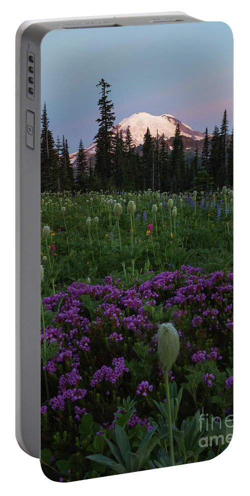 Rainier Portable Battery Charger featuring the photograph Rainier Pastel Dawn by Mike Dawson