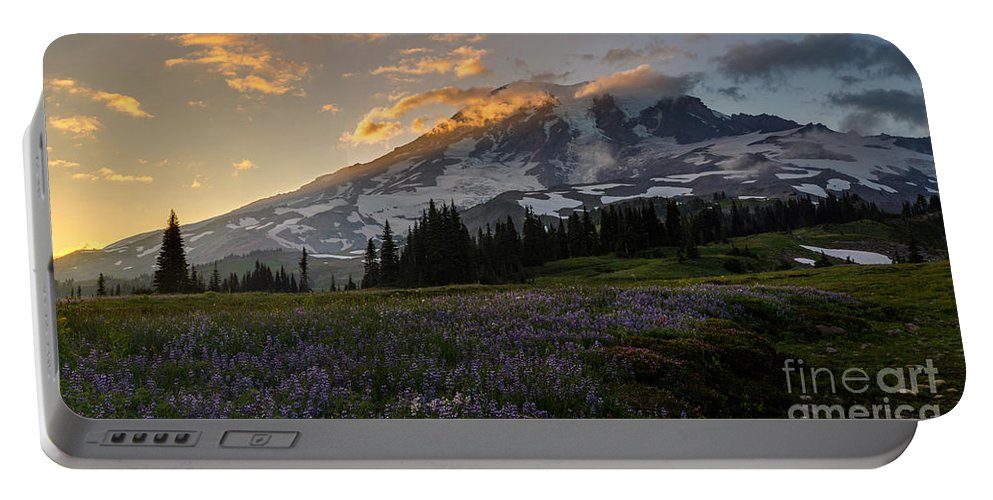 Rainier Portable Battery Charger featuring the photograph Rainier Purple Lupine Carpet by Mike Reid